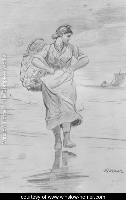 A-Fisher-Girl-on-Beach-(Sketch-for-illustration-of-'The-Incoming-Tide')