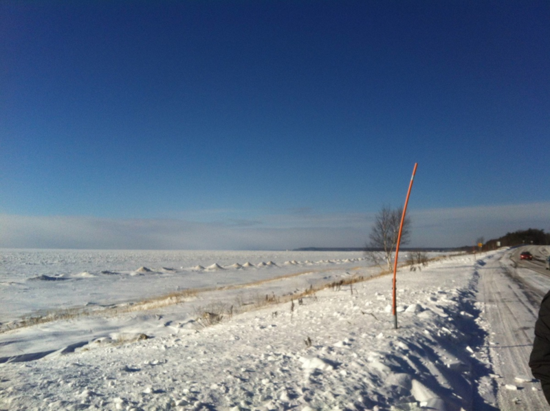 Snow measure by the Lake Michigan shoreline